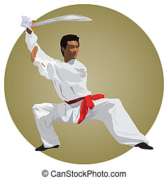 Fighter - Kung-fu fighter with sword Color vector...