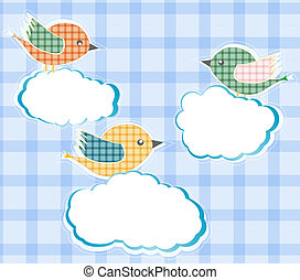 birds sitting on the clouds in sky