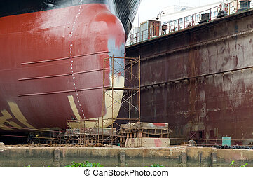 Detail of ship in a floating dock - Bulb of ship being...