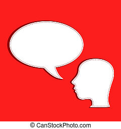 human talks in a speech bubble