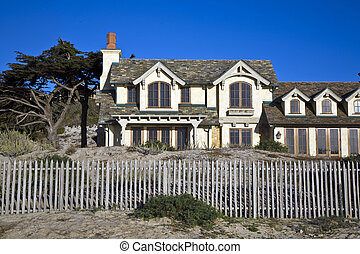 beautiful houses near Pfeiffer beach in California -...
