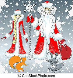 vector a happy Father Frost and Snow Maiden - Father Frost...