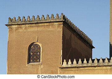 the Alhambra in Granada - tower in the courtyard of the...