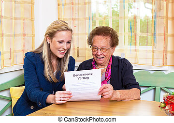 grandson and grandmother. generation contract