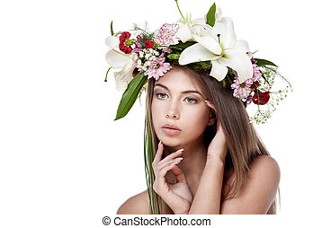 Beautiful woman with flower wreath. Space for text.