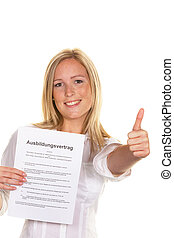 woman with a training contract