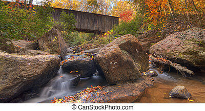 Autumn Stream - Stream under Elder Covered Bridge in...