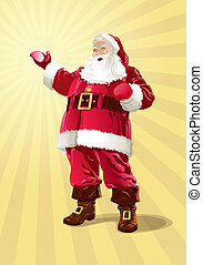 Santa Claus on a on a yellow background from beams