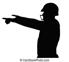 Silhouette American Football Quarterback Instructing -...