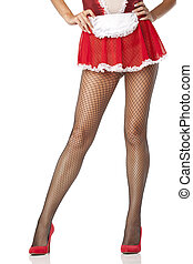 Sexy maid legs in fishnet stocking - Sexy maid woman legs in...