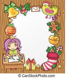 letter to Santa 4 - Little girl, wearing crown, writing a...