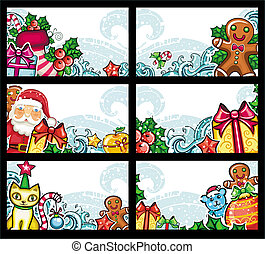 Colorful Christmas cards series