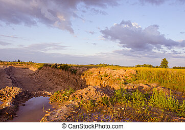 Agricultural reclamation ditch dug in fields. - Reclamation...