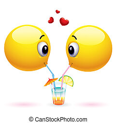 Smiley - Couple of smiling balls sharing drink