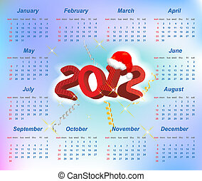 Vector Santa calendar 2012 year (week starts on Sunday)