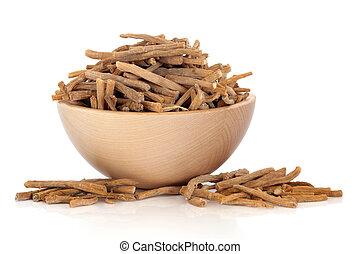 Achyranthes Root Herb - Achyranthes root herb in a beech...