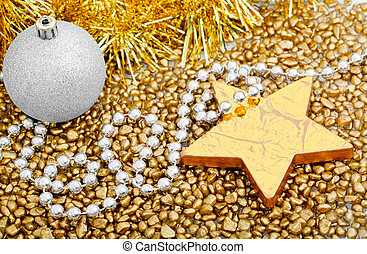 Christmas star on a gold background