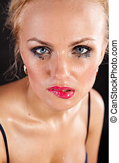 beautiful girl wet with tears