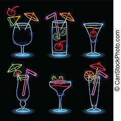 Neon Tropical Drinks - Neon tropical drinks EPS10 Gradients...