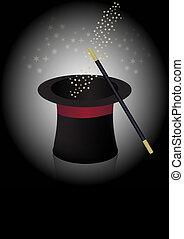 Magician hat and wand - Magician Hat, Wand and Stars in Beam...
