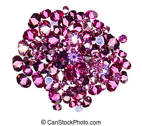 Many small ruby diamond (jewel) stones heap isolated on white
