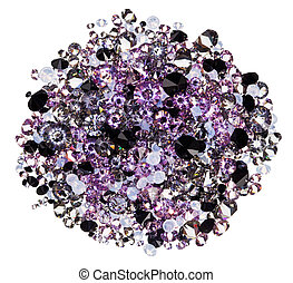 Many small purple diamond (jewel) stones heap isolated on white