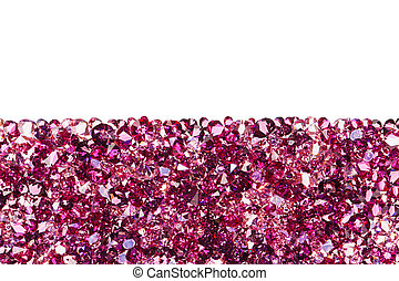 Ruby diamond jewel stones luxury background with copy space on white