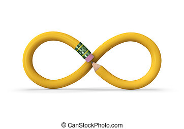 Infinite Pencil - A yellow pencil in the shape of an...
