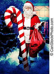 santa with presents - Santa Claus posing with presents over...