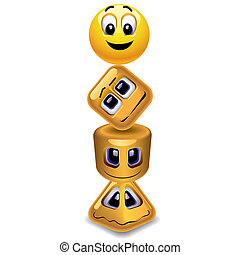 Smiley - Smiling ball, cube, cylinder and pyramid
