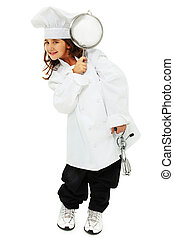 Adorable Girl in Baggy Chef Uniform - Adorable nine year old...