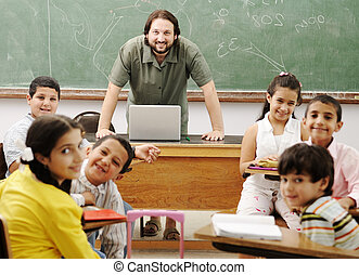 Interaction between teacher and children, funny class in...