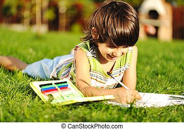男の子, 草,  writting, 本, 若い, 屋外で, 読書, 図画