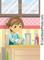 Boy washing hands - A vector illustration of a boy washing...