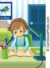 Studying kid - A vector illustration of a kid studying and...