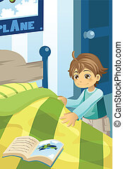 Boy making his bed - A vector illustration of a boy making...