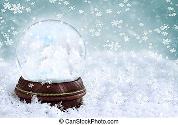 Snow Globe with Clouds - Magical snow globe with clouds and...