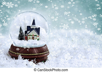 Snow Globe - Snow globe with church and christmas trees...