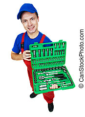 automobile mechanic with Socket Wrench Set - serviceman...