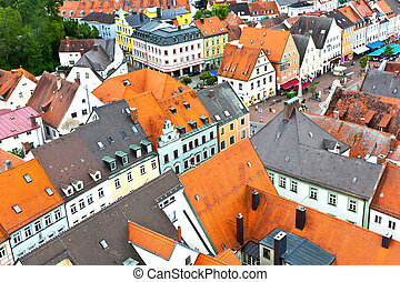 medieval village of Freising in Bavaria - view to medieval...
