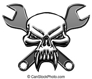 Skull with Mechanics Wrench - Bikers Skull Symbol with...