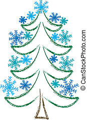 Christmas Tree with Snowflakes