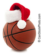 Basketball with Santa Hat - Basketball With Red Santa Hat On...