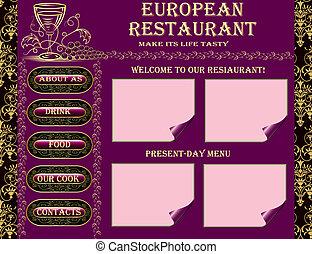 restaurant website design - illustration with goblet and...