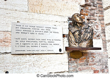 plate with verse from Romeo and Juliet in Verona,...