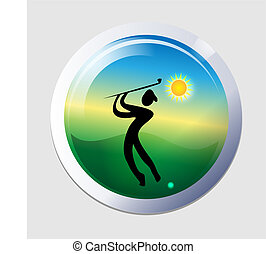 Golfer men icon vector