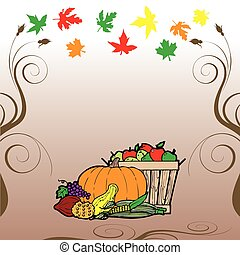 Thanksgiving Fruit Veg Card - Vector Illustration for...