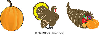 Thanksgiving Icons 2 - Vector Illustration Set of three...