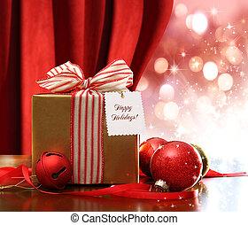 箱子, 金, 禮物, 閃閃發光, 光, 裝飾品, 聖誕節