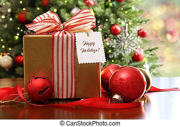 桌子, 聖誕節, 禮物, 坐